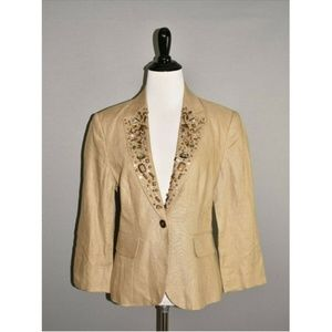 BOSTON PROPER Tan Jeweled Linen Blazer Jacket